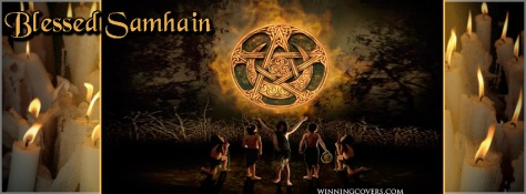 halloween pagan all hallows eve happy Samhain facebook timeline cover banner wicca wiccan the wheel turns and the veil thins blessed samhain cover photo